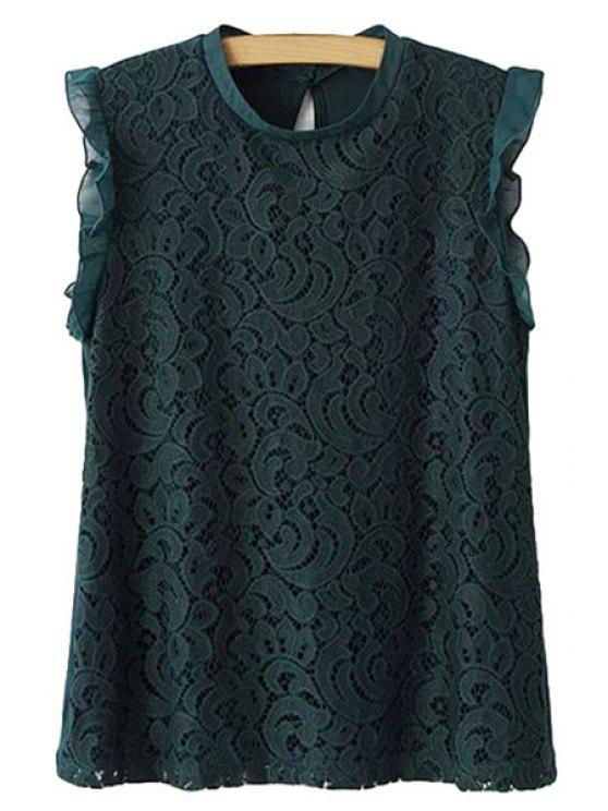 buy Lace Hollow Out Sleeveless Blouse - BLACKISH GREEN S