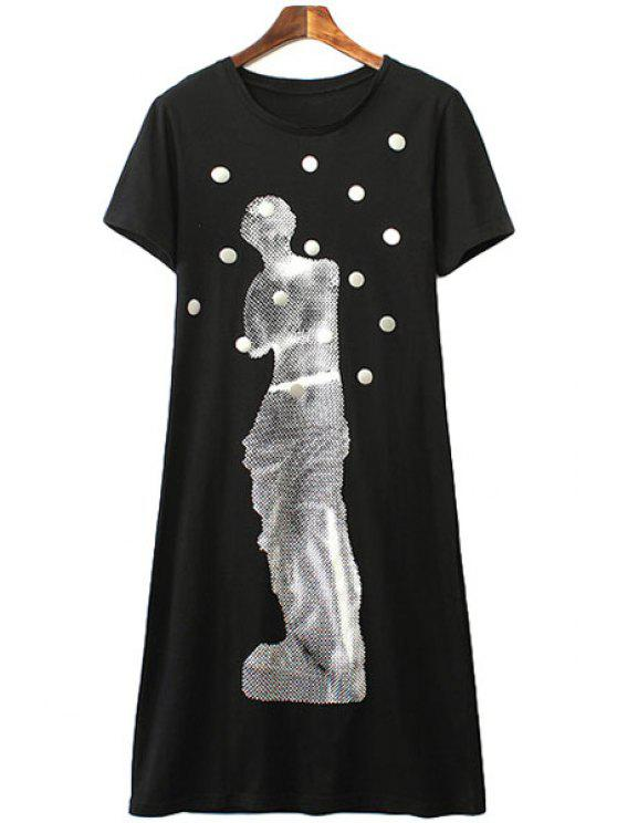outfits Figure Print Short Sleeves Dress - BLACK S