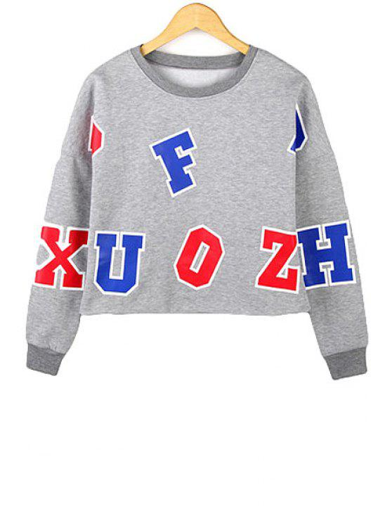 online Letters Pattern Long Sleeves Sweatshirt - GRAY S