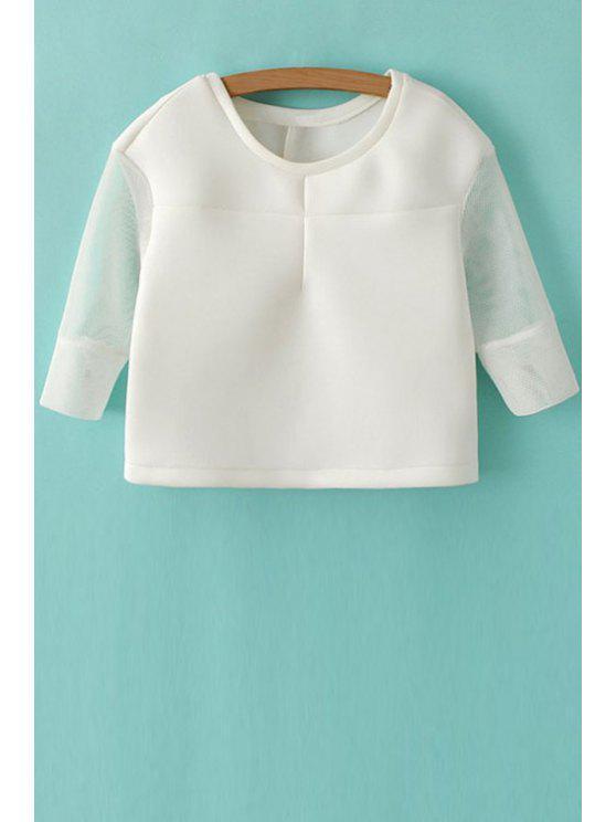 shops Hollow Splicing 3/4 Sleeve Sweatshirt - WHITE S