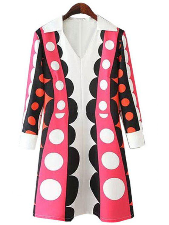 ladies V-Neck Polka Dot Print Dress - BLACK AND WHITE AND RED S