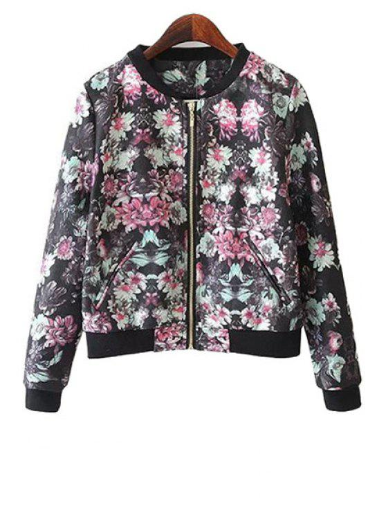 trendy Floral Print Stand Neck Jacket - WATER RED S