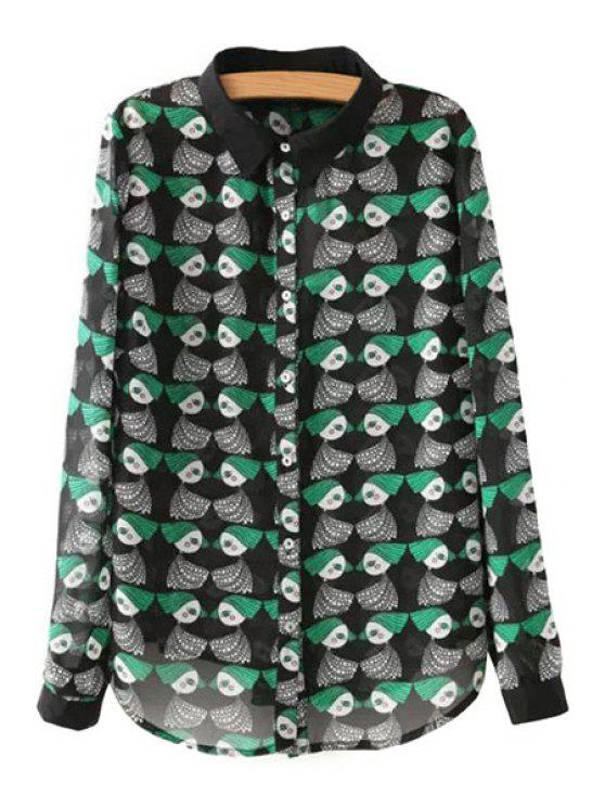 outfit Cartoon Print Long Sleeves Shirt - GREEN S