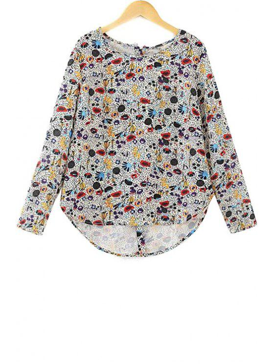 fancy Colorful Print Long Sleeve Blouse - COLORFUL S