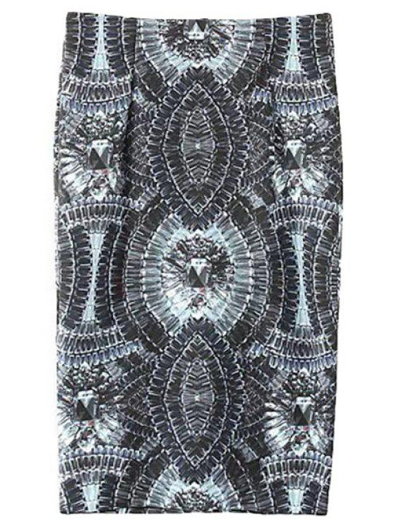online Gemstone Print High Waisted Skirt - BLACK S