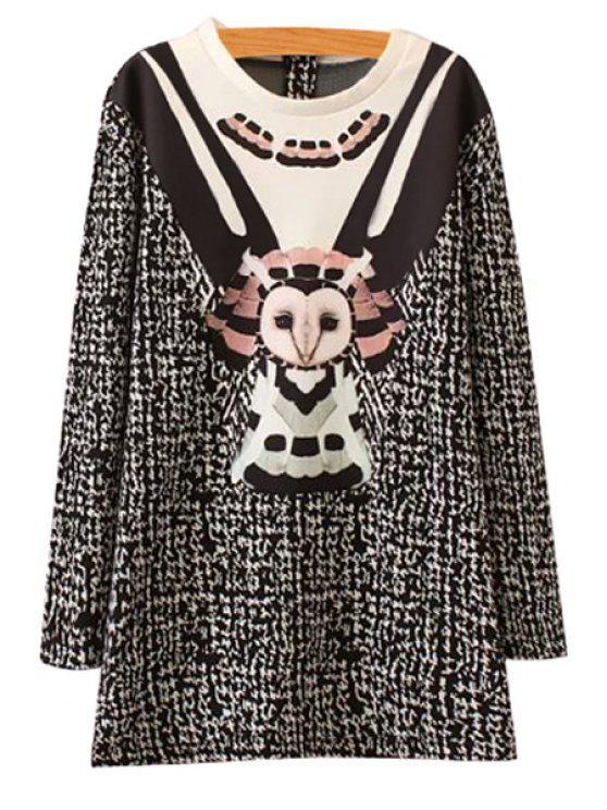 online Cartoon Print Splicing Dress - BLACK XS