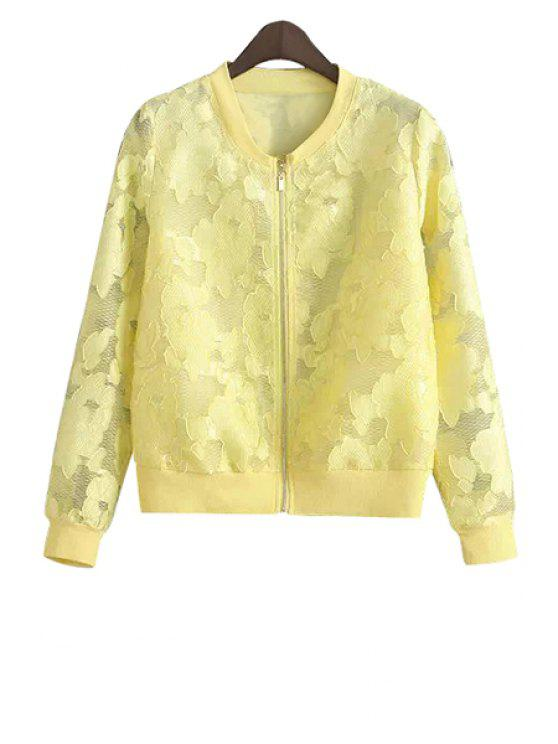 fancy Lace Solid Color Jacket - YELLOW S