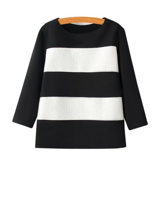 best Color Block 3/4 Sleeves Blouse - WHITE AND BLACK L