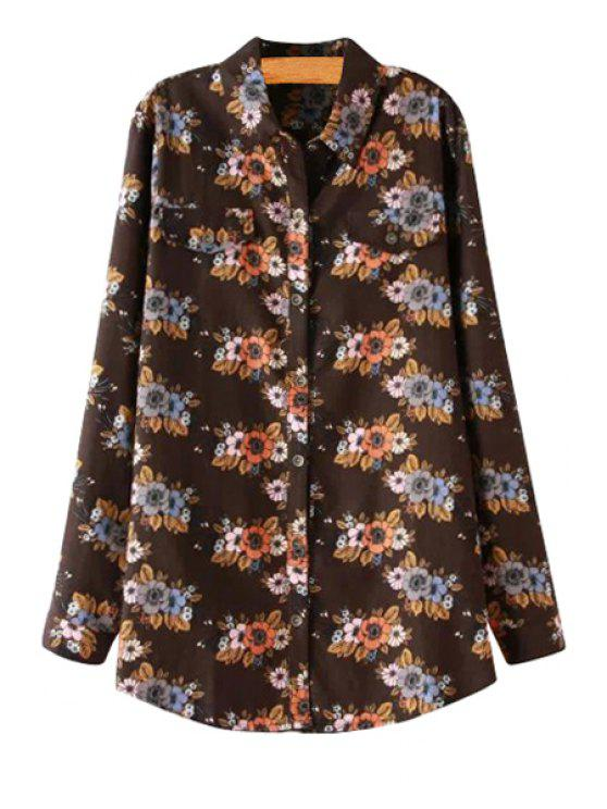 outfits Floral Pattern Long Sleeves Shirt - KHAKI ONE SIZE(FIT SIZE XS TO M)