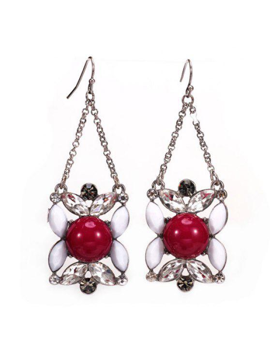 women's Pair of Stylish Women's Faux Gem Rhinestone Flower Earrings - COLOR ASSORTED