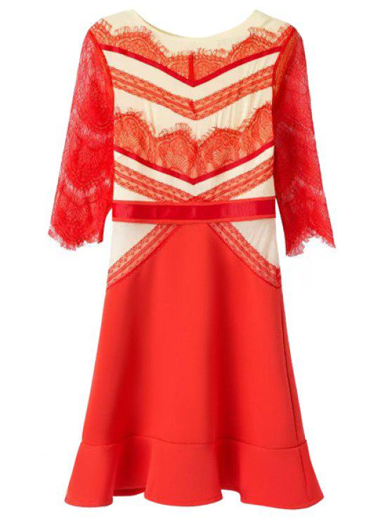 best Casual Style Jewel Neck Color Block Lace Splicing Half Sleeve Dress For Women - RED M