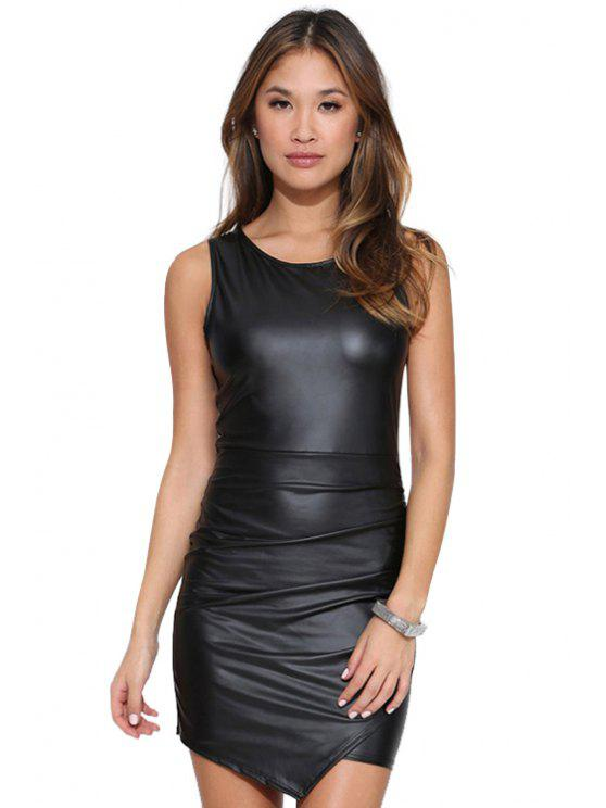 latest Sleeveless PU Leather Bodycon Dress - BLACK S