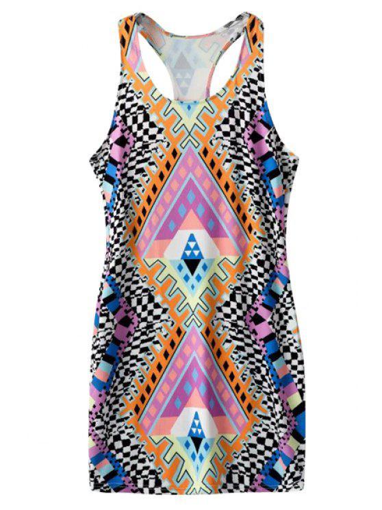 womens U-Neck Geometric Print Dress - COLORMIX S
