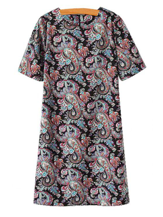 unique Paisley Print Short Sleeve Dress - COLORMIX S