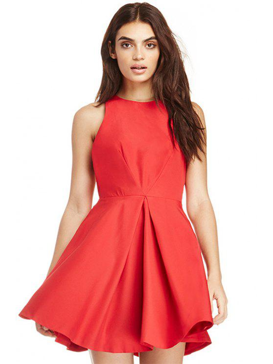 women Solid Color A-Line Sleeveless Dress - RED XL