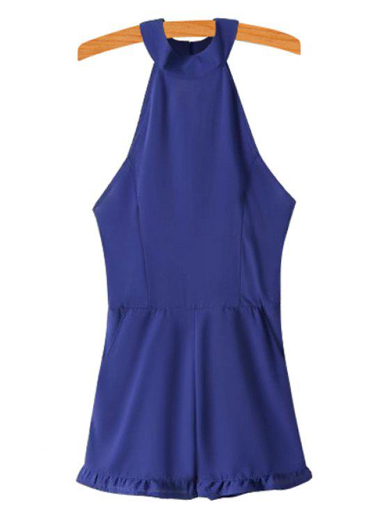 women's Solid Color Backless Jumpsuit - SAPPHIRE BLUE S