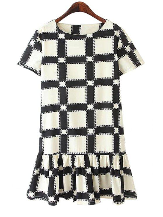lady Plaid Flounce Splicing Dress - WHITE S