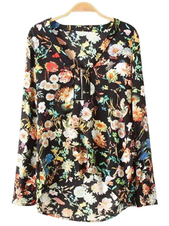outfit Long Sleeves Full Floral Print Blouse - BLACK S
