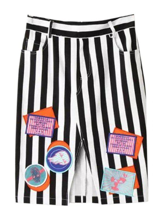 women's Striped Patch Design Skirt - STRIPE XS