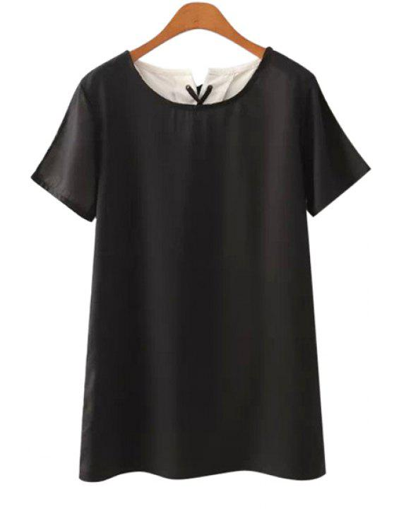 trendy Short Sleeves Color Block Lace-Up Dress - BLACK S