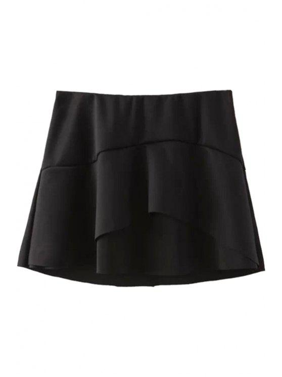outfit Ruffles Splicing A-Line Skirt - BLACK S