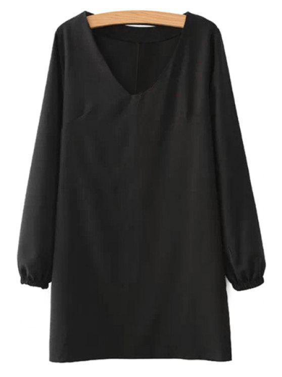 womens Black Long Sleeve Dress - BLACK S