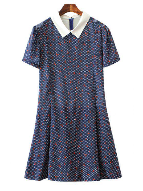 best Paper Crane Print Short Sleeve Jumpsuit - BLUE S