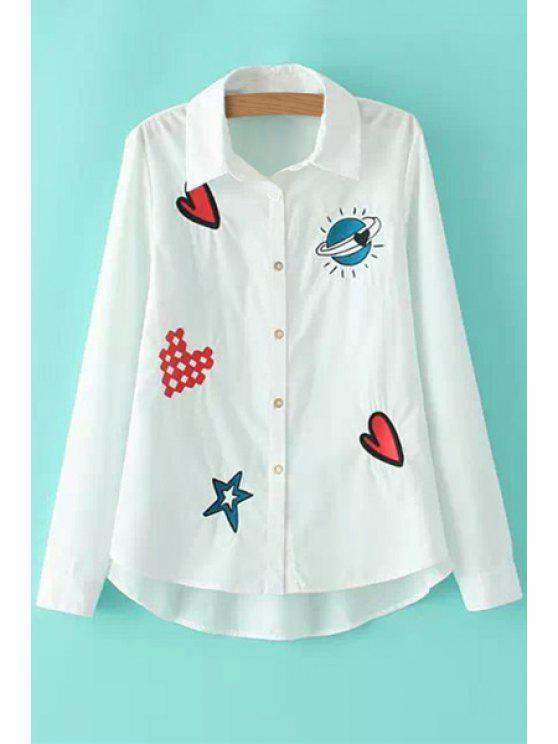 fashion Embroidery Long Sleeves Shirt - WHITE S