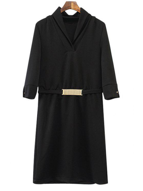 fashion Sequined Embellished Half Sleeve Dress - BLACK S