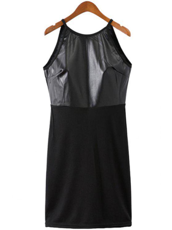 affordable Black Spaghetti Straps Dress - BLACK S