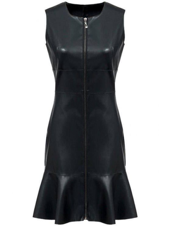 lady PU Leather Ruffles Sleeveless Dress - BLACK S