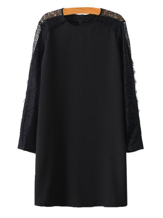 unique Lace Openwork Solid Color Dress - BLACK S