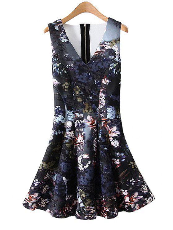 best V-Neck Floral Print A-Line Dress - COLORMIX S