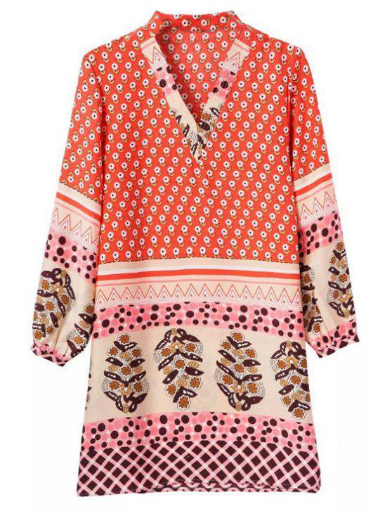 fancy V-Neck Floral Print Long Sleeve Dress - RED S