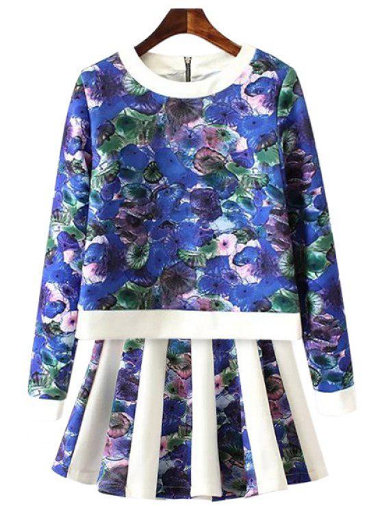 fashion Print Splicing Sweatshirt and Skirt Suit - BLUE S