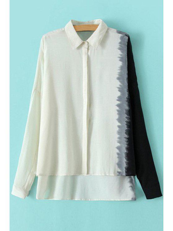 buy Color Block High-Low Hem Shirt - OFF-WHITE S