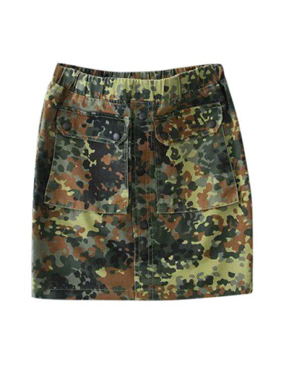 unique Camouflage Pockets Skirt - CAMOUFLAGE COLOR S