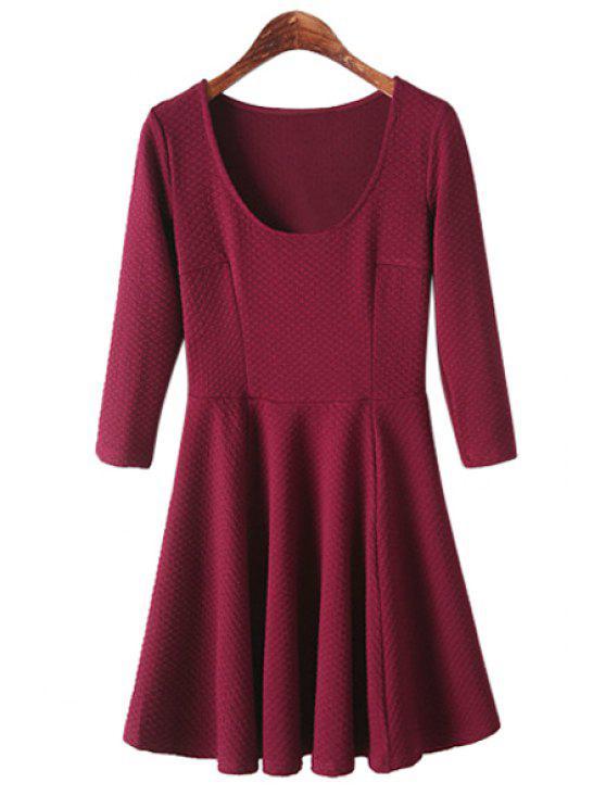 hot Jacquard 3/4 Sleeve Dress - WINE RED S