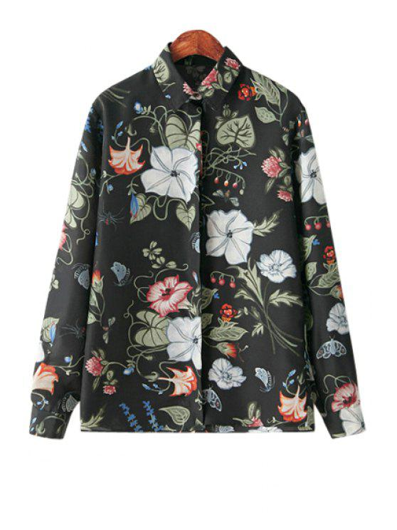 women Floral Print Shirt - BLACK S