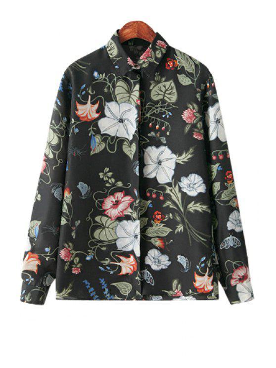 women Floral Print Shirt - BLACK S