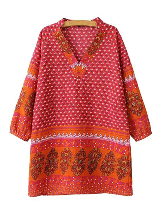 women Print Long Sleeve V-Neck Dress - RED S