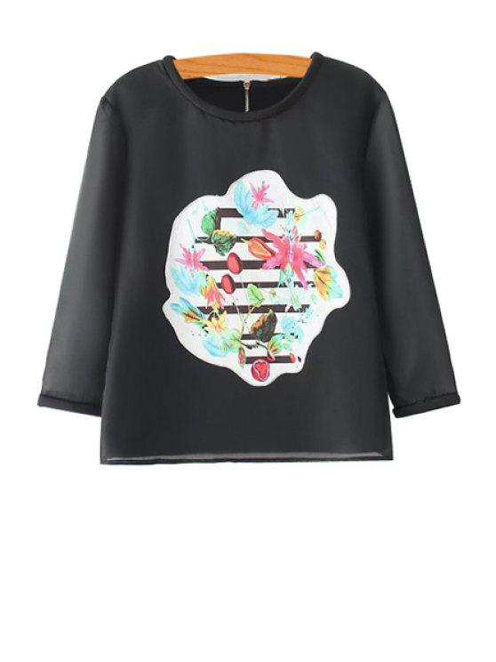 fancy Floral Applique Voile T-Shirt - BLACK S