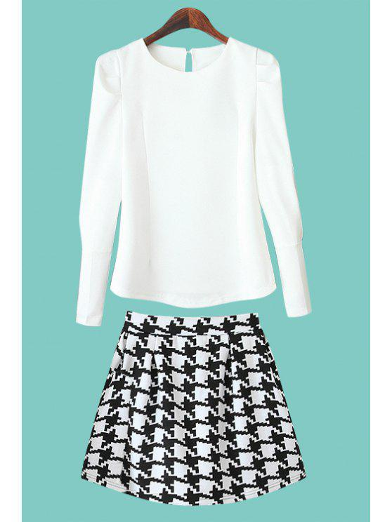outfit Solid Color Long Sleeve Blouse + Houndstooth Skirt - WHITE S
