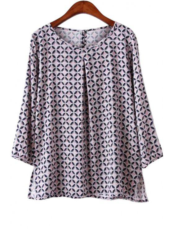 fashion Geometric Print 3/4 Sleeve Blouse - LIGHT PURPLE L