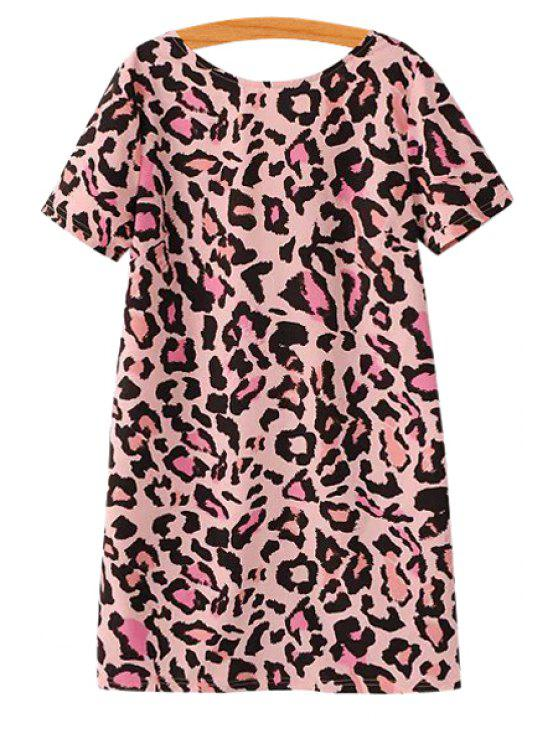 womens Pink Leopard Pattern Dress - PINK S
