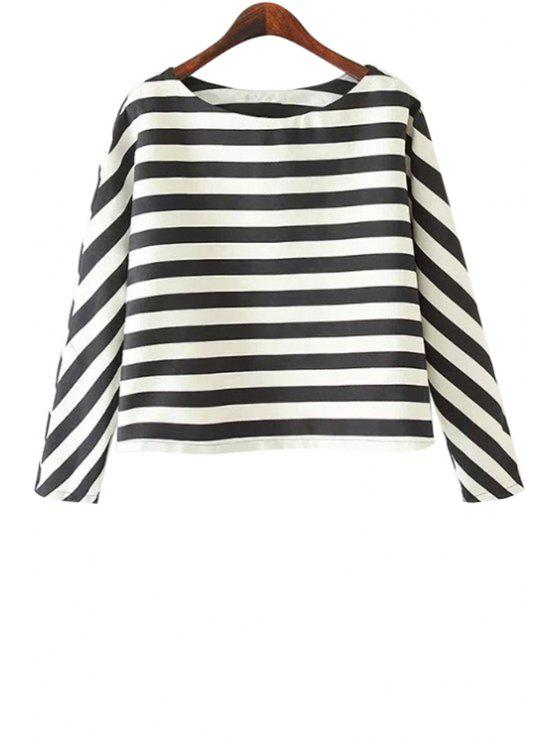 ladies Long Sleeves Striped Blouse - STRIPE S