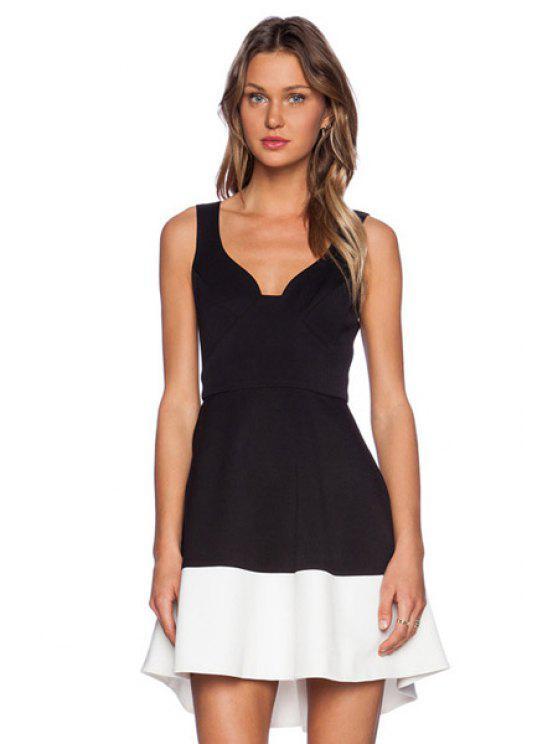 new Color Block Splicing Asymmetrical Dress - BLACK XS
