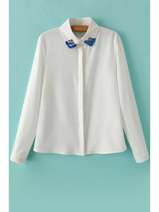 hot Diamante Long Sleeve Chiffon Shirt - WHITE S