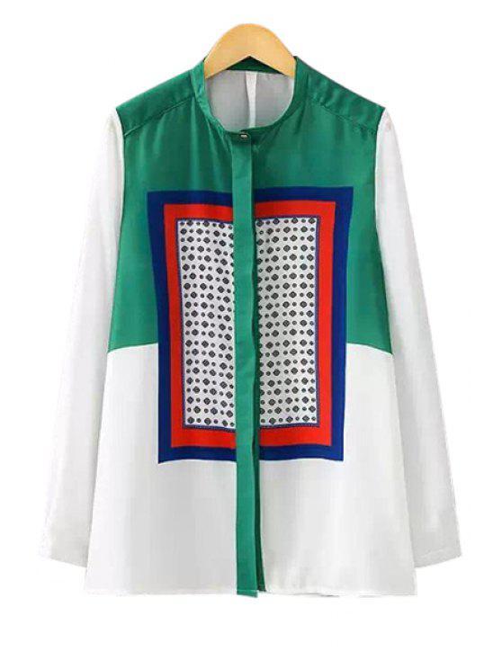 shop Color Block Stand Neck Shirt - WHITE S