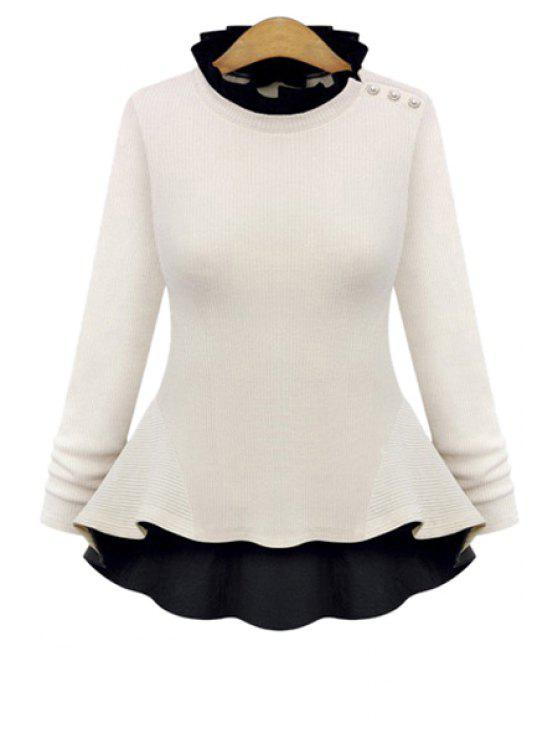 trendy Flouncing Long Sleeve Knitwear - WHITE L